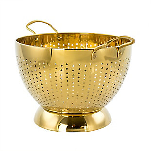 Gibson Home Rose Hue 5 Quart Stainless Steel Colander in Gold, , large