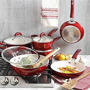 Kenmore Arlington Aluminum Ceramic Coated Nonstick Cookware Set in Metallic Red, Red, rollover