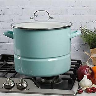 Kenmore 16 Quart Stainless Steel Pot in Blue with Steamer Insert and Glass Lid, , rollover