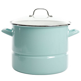 Kenmore 16 Quart Stainless Steel Pot in Blue with Steamer Insert and Glass Lid, , large