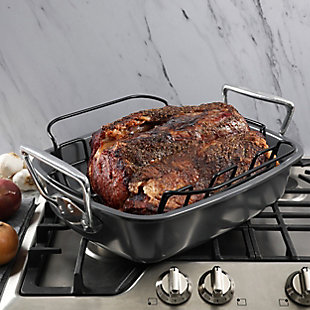 Kenmore Travens 17 Inch Carbon Steel Roaster in Grey with Rack in Black, , rollover