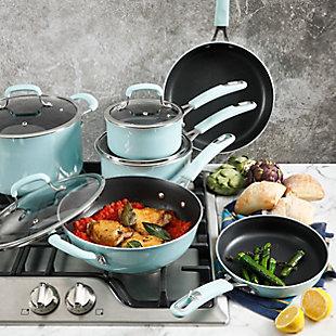 Kenmore Elite Andover 10 Piece Nonstick Aluminum Cookware Set in Glacier Blue, Blue, rollover