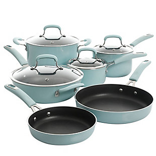Kenmore Elite Andover 10 Piece Nonstick Aluminum Cookware Set in Glacier Blue, Blue, large