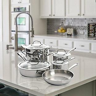 Kenmore Elite Devon 10 Piece Heavy Gauge Stainless Steel Cookware Set, , rollover