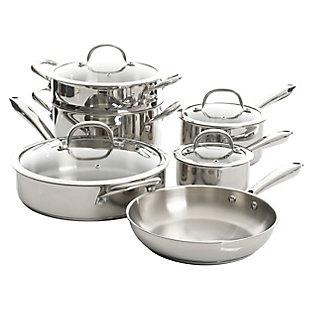 Kenmore Elite Devon 10 Piece Heavy Gauge Stainless Steel Cookware Set, , large