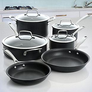Kenmore Pro Arbor Heights 10 Piece Nonstick Aluminum Cookware Set in Black, , rollover