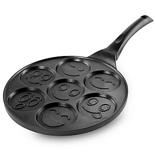 MegaChef Happy Face Emoji 10.5 Inch  Aluminum Nonstick Pancake Maker Pan with Cool Touch Handle, , large