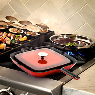 MegaChef 11 Inch Square Enamel Cast Iron Grill Pan with Matching Grill Press in Red with Press, , rollover