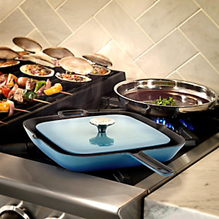MegaChef 11 Inch Square Enamel Cast Iron Grill Pan with Matching Grill Press in Blue with Press, , rollover