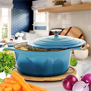MegaChef 4 Quarts Round Enameled Cast Iron Casserole with Lid in Blue, Blue, rollover