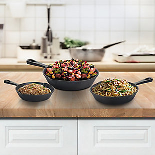 MegaChef Pre-Seasoned 3 Piece Cast Iron Skillet Set, , rollover