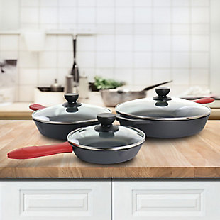 MegaChef Pre-Seasoned 9 Piece Cast Iron Skillet Set with Lids and Red Silicone Holder, , rollover