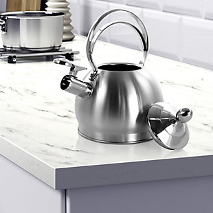 MegaChef 2.8 Liter Round Stovetop Whistling Kettle in Brushed Silver, , rollover
