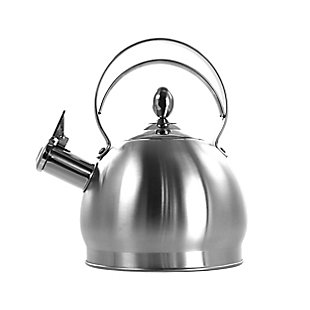 MegaChef 2.8 Liter Round Stovetop Whistling Kettle in Brushed Silver, , large