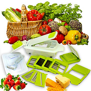 MegaChef 8-in-1 Multi-Use Slicer Dicer and Chopper with Interchangeable Blades, Vegetable and Fruit Peeler an, , rollover