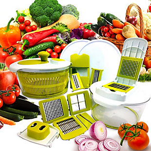 MegaChef 10-in-1 Multi-Use Salad Spinning Slicer, Dicer and Chopper with Interchangeable Blades and Storage L, , rollover