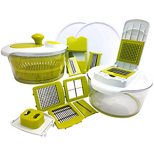 MegaChef 10-in-1 Multi-Use Salad Spinning Slicer, Dicer and Chopper with Interchangeable Blades and Storage L, , large