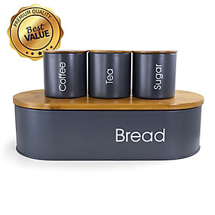 MegaChef Bamboo Kitchen Countertop 4 Piece Metal Bread Basket and Canister Set in Gray with Lids, , large