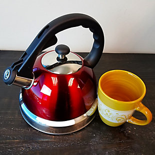 Mr. Coffee Claredale 1.7 Quart Brushed Stainless Steel Whistling Tea Kettle with Nylon Handle, Metallic, rollover