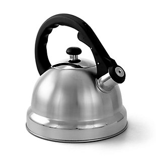 Mr. Coffee Claredale 1.7 Quart Brushed Stainless Steel Whistling Tea Kettle with Nylon Handle, Silver, rollover