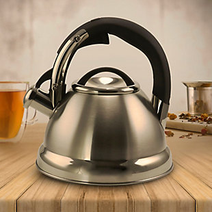 Mr. Coffee Kelton 2 Quart Stainless Steel Whistling Tea Kettle, Metallic, rollover