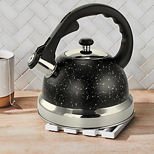 Mr. Coffee Claredale 2.2 Quart Stainless Steel Whistling Tea Kettle in Black Speckle, , rollover