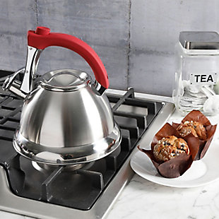 Mr. Coffee Collinsbroke 2.4 Quart Stainless Steel Tea Kettle with Red Handle, , rollover