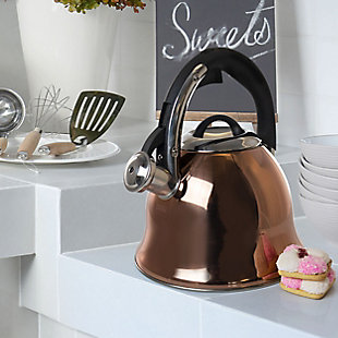 Mr. Coffee Coffield 2.5 Quart Stainless Steel Flare Whistling Tea Kettle in Copper, , rollover