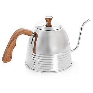 Mr. Coffee 1.3 Quart Stainless Steel Goodneck Kettle with Wood Texture, , large