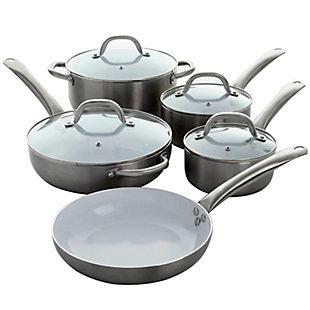 Oster Montecielo 9 Piece Aluminum Cookware Set in Metallic Titanium, , large