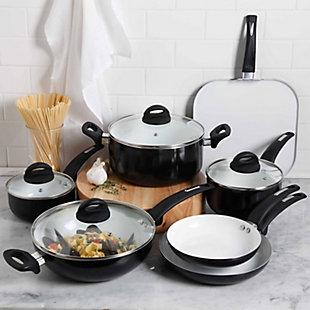 Oster Herstal 11 Piece Aluminum Cookware Set in Black, , rollover