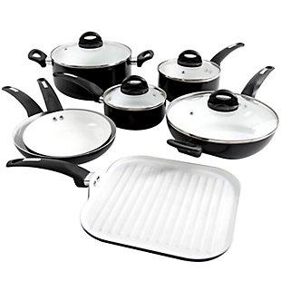 Oster Herstal 11 Piece Aluminum Cookware Set in Black, , large