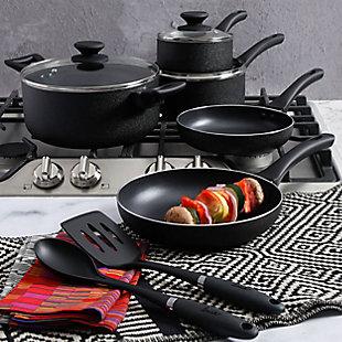 Oster Ashford 10 Piece Aluminum Nonstick Cookware Set in Black, , rollover