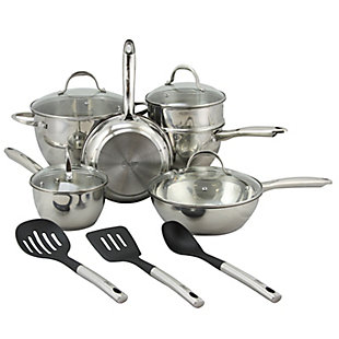 Oster Ridgewell 13 piece Stainless Steel  Belly Shape Cookware Set in Silver Mirror Polish with Hollow Han, , large