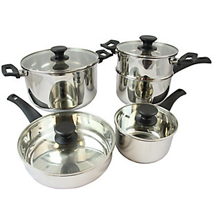 Oster Sabato 9 Piece Stainless Steel Cookware Set with Lids, , rollover