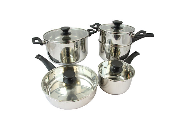 Oster Sabato 9 Piece Stainless Steel Cookware Set with Lids, , large