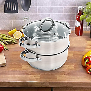 Oster Hali 3-Piece Stainless Steel Steamer Set With Lid, , rollover