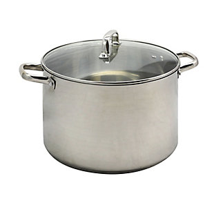 Oster Adenmore 16 Quart Stainless Steel Stock Pot With Tempered Glass Lid, , rollover