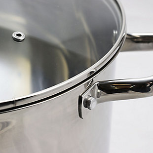 Oster Adenmore 16 Quart Stainless Steel Stock Pot With Tempered Glass Lid, , large