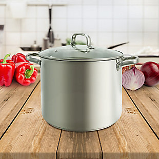 Oster Adenmore 12 Quart Stainless Steel Stock Pot With Tempered Glass Lid, , rollover