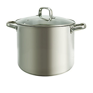 Oster Adenmore 12 Quart Stainless Steel Stock Pot With Tempered Glass Lid, , large