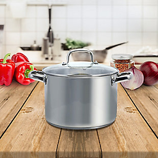 Oster Adenmore 8 Quart Stainless Steel Stock Pot with Tempered Glass Lid, , rollover