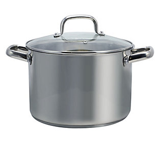 Oster Adenmore 8 Quart Stainless Steel Stock Pot with Tempered Glass Lid, , large