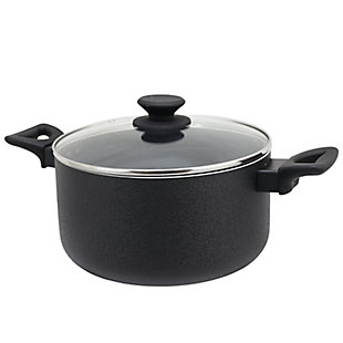 Oster Ashford 6 Quart Aluminum Dutch Oven with Tempered Glass Lid in Black, , large