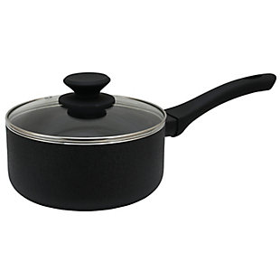 Oster Ashford 2 Quart Aluminum Nonstick Sauce Pan with Tempered Glass Lid in Black, , large
