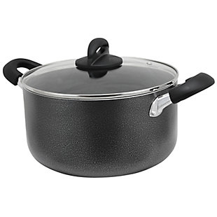 Oster Clairborne 6 Quart Aluminum Hammered Tone Dutch Oven with Lid in Charcoal Grey, , large