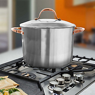 Oster Merrick 16 Quart Stainless Steel Stock Pot with Tempered Glass Lid, , rollover