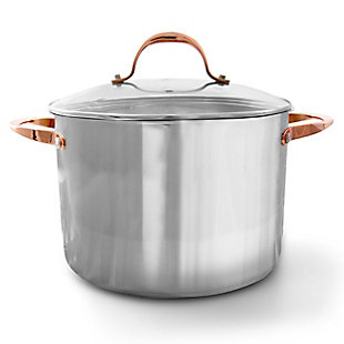 Oster Merrick 16 Quart Stainless Steel Stock Pot with Tempered Glass Lid, , large