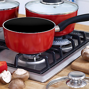 Oster Nonstick 2.5 Quart Aluminum Red Saucepan with Glass Lid, , rollover