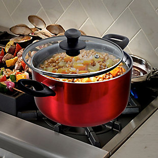 Gibson Oster Merrion 3.2 Quart Nonstick Aluminum Dutch Oven with Glass Lid in Red, , rollover